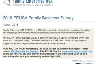 2016 FEUSA Family Business Survey